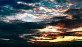 Beautiful Sunset Sky. Orange, Blue, And White Sky. Colorful Sunset. Art Picture Of Sky At Sunset. Su poster