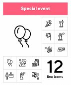 Special Event Line Icon Set. Air Balloons, Cutting Ribbon, Event Reception. Celebration Concept. Can poster