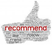 Recommend concept as social media symbol in tag cloud of thumb up shape. Isolated on white background