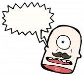 cabeça de Ciclope dos desenhos animados com bigode