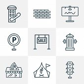 Public. Skyline Icons Line Style Set With Telephone Box, For Sale, Camping Zone And Other Brickwork  poster