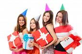 Joyful happy smiling teen girls have fun on birthday party, over white