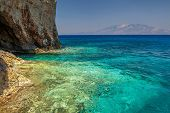 Blue Caves With Kefalonia View