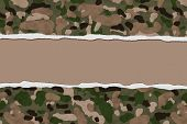 image of camouflage  - Camouflage Torn Background for your message or invitation with copy - JPG