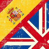 UK and spanish grunge flag