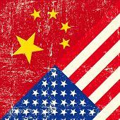 EUA e chinês grunge bandeira
