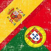 Espanhol e Portugal grunge bandeira