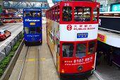 Double-decker tram in Hong Kong.