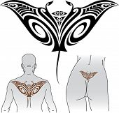Maori styled tattoo pattern in shape of manta ray. Fit for upper and lower back. Editable vector for