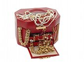 Box Of Treasure With Gold Jewelry