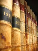 foto of vintage antique book  - A shelf of vintage Canadian law books from the early 1900s all copyright removed.