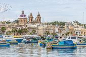 stock photo of eastern culture  - Harbor of Marsaxlokk a traditional fishing village located in the south - JPG