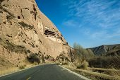 The Road Through Mountains In Zhangye, Gansu Of China