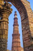 image of qutub minar  - Qutub Minar Tower or Qutub Minar the tallest brick minaret in the world Delhi India - JPG