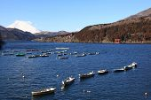Mt. Fuji view at Lake Ashi with boats and red temple gate
