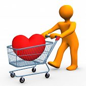 picture of brothel  - Orange cartoon character with shopping cart and red heart - JPG