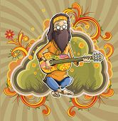Hippie with guitar in nirvana