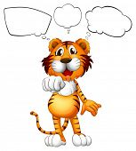 Illustration of a thinking tiger on a white background