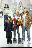 MOSCOW - APRIL 8: Yana Rudkovskaya and Evgeni Plushenko show clothes from ODRI at Volvo Fashion Week