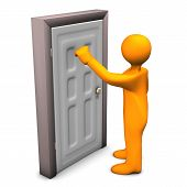 stock photo of rep  - Orange cartoon character knocks on the frontdoor - JPG