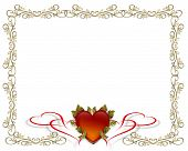 image of valentines day card  - 3D Valentine illustration and image composition with heart and gold text for card or background - JPG