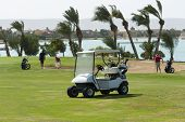 stock photo of buggy  - Electric golf buggy on the fairway with golfers in the distance - JPG