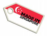 label with flag of Singapore