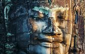 foto of rock carving  - Bayon Temple in Angkor - JPG