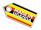 label with flag of Uganda