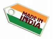 label with flag of India