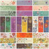 27 floral banners in vector. Romantic set in cartoon style. Horizontal and vertical cards with flowers, birds, hearts, branches. Spring and summer concept