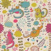 Cartoon dragons in flowers. Childish bright floral seamless pattern in vector