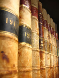 stock photo of vintage antique book  - A shelf of vintage Canadian law books from the early 1900s all copyright removed.
