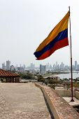 Colombian Flag At Cartagena Skyline