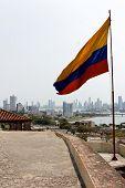 Colombian Flag At Cartagena Skyline