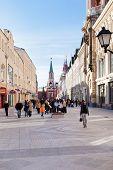 Tourists On Renovated Nikolskaya Street In Moscow