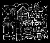 sketch Kitchen elements doodle vector