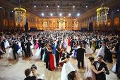 MOSCOW - MAY 25: Beautiful people whirling in the dance at 11th Viennese Ball in Gostiny Dvor on May