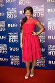MOSCOW - MAY 25: Singer Nusha in red dress on Russian Music Award channel RUTV in Crocus City Hall o