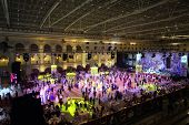 MOSCOW - MAY 25: Hall with tables and beautiful people at 11th Viennese Ball in Gostiny Dvor on May