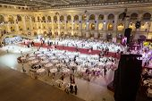 MOSCOW - MAY 25: Tables at the banquet at 11th Viennese Ball in Gostiny Dvor on May 25, 2013 in Mosc