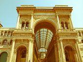 Retro Looking Galleria Vittorio Emanuele Ii, Milan
