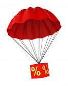 image of parachute  - Parachute with a discount sign - JPG