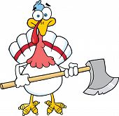 White Turkey With Ax Cartoon Character