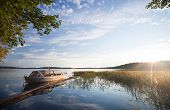 Small Fishing Boat Moored On Saimaa Lake In Imatra Town, Finland