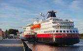Big  Norwegian Passenger Cruise Ship Moors In The Port Of Rorvik
