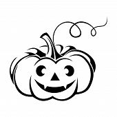 Black silhouette of Jack-O-Lantern (Halloween pumpkin). Vector illustration