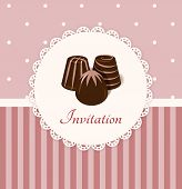 Vintage Vector Invitation Card With Chocolate Candies
