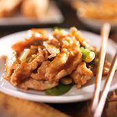 chinese food - stir fry chicken with vegetables close up