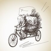 stock photo of rickshaw  - Sketch of cycle rickshaw delivery - JPG